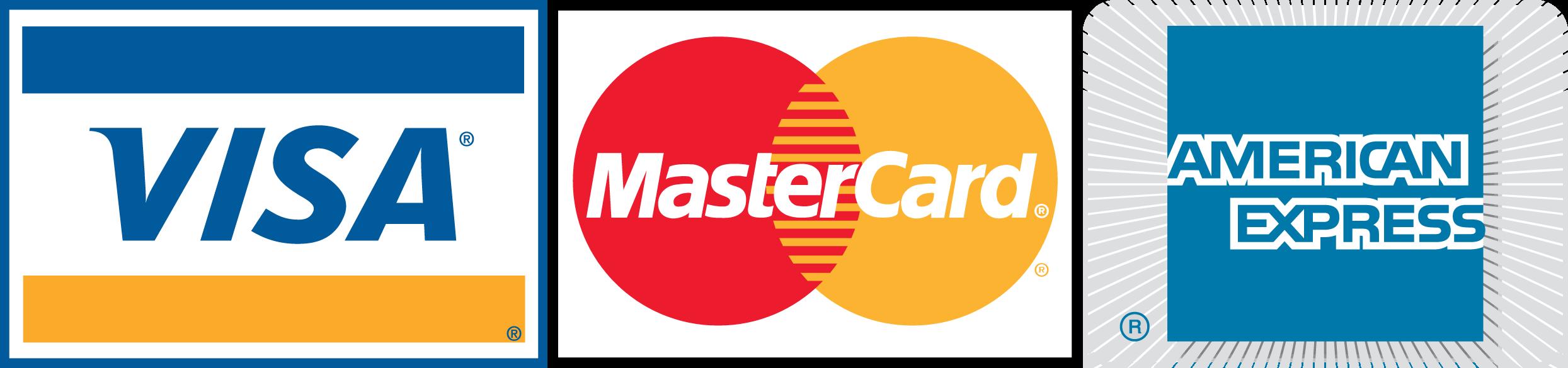 MasterCard, Visa Card, American Express Karte Logos