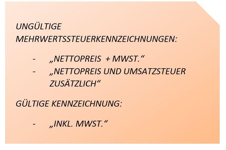 Gültige und ungültige Mehrwersteuer (MwSt) Kennzeichnung im Online Shopping
