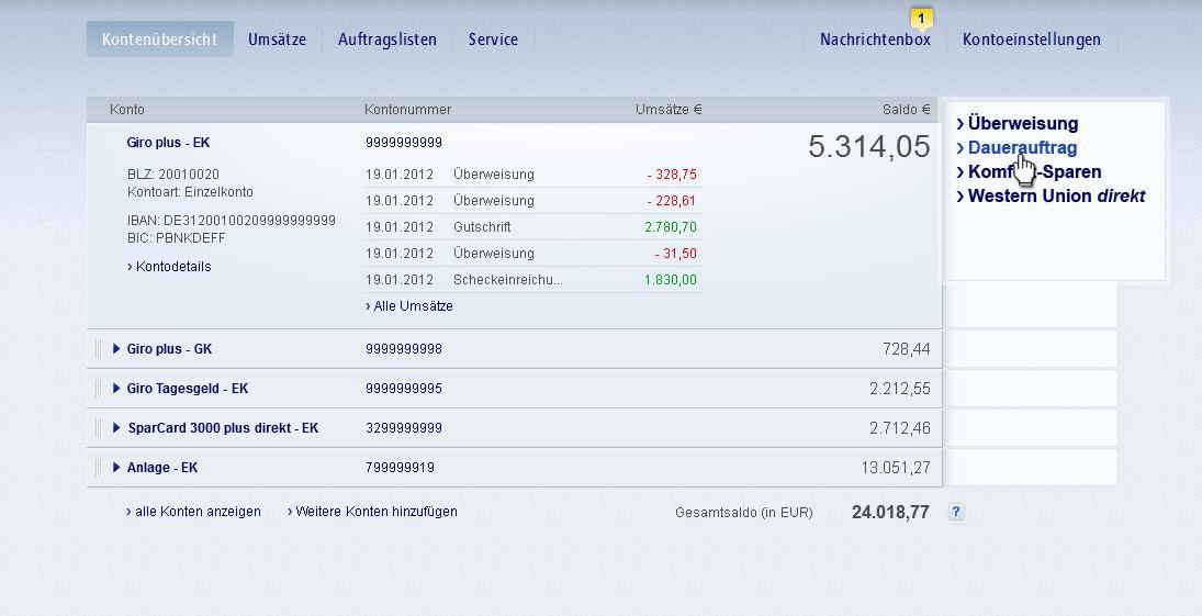 postbank online dauerauftrag löschen
